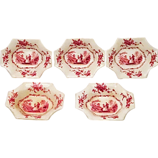 Five Mason's Watteau Red Transferware Relish Dishes