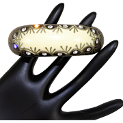 Vintage Celluloid Clamper Rhinestone Hand Painted Bracelet