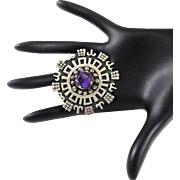 Los Ballesteros Sterling Brooch Amethyst Silver  Oxidized Pin Pendant