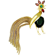 Vintage Napier Rooster Brooch Rhinestones Chains Book Piece