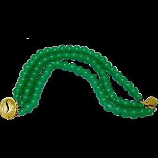 Vintage Jade Glass Bracelet Triple Strand
