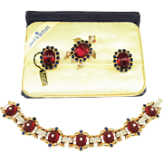 1949 Trifari Moghul Bracelet Brooch Earrings Tag Box Book