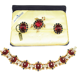 1949 Trifari Moghul Bracelet Brooch Earrings Tag Box Book