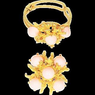 Vintage Juliana Clamper Bracelet Brooch Pink Cabochon Book Set