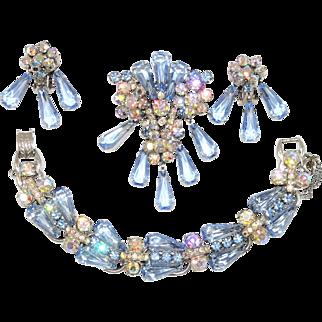 Vintage Juliana Blue Pentagon Rhinestone Bracelet Brooch Earrings D&E Book Set