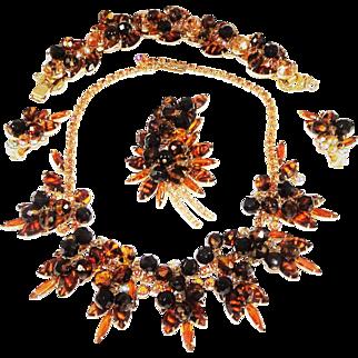 Vintage Juliana Tiger Stripe Necklace Bracelet Brooch Earrings Tortoise D&E Book Set
