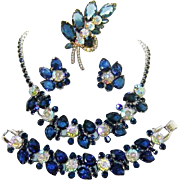 Vintage Juliana Necklace Bracelet Brooch Earrings Sapphire Blue AB Rhinestones D&E Book Set