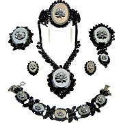 Vintage Juliana Hematite Rose Cameo Necklace 1 bracelet 1 clamper 2 Pendant Brooches Earrings
