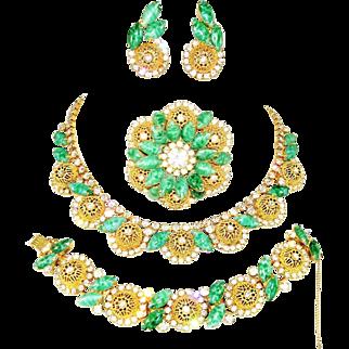 Vintage Juliana Necklace Bracelet Brooch Earrings Faux Jade Filigree Ball D&E Book Set
