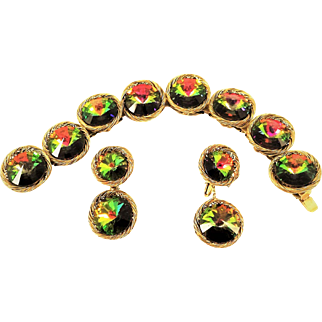 Vintage Vendome Watermelon Bracelet Earrings Rivoli Rhinestone Book Set