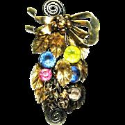 Vintage 1940s Hobe Brooch Sterling Vermeil Rhinestone Floral Bouquet