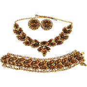 Vintage Kramer Necklace Bracelet Earrings Topaz Rhinestone AB Netted Set Book