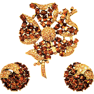 Vintage Trifari Brooch Earrings Madeira Topaz Rhinestones Rare Set
