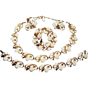 Vintage Trifari Necklace Bracelet Pin Earrings White Lucite Rhinestone Pebble Beach Book Set