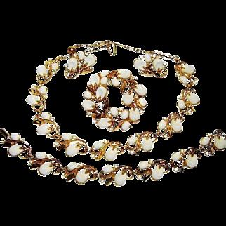 Vintage Trifari Necklace Bracelet Pin Earrings White Lucite Rhinestone Pebble Beach Book Set
