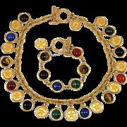 Vintage Mish NY Necklace Bracelet Gemstone Cabochons Gold Plated Reversible Couture Set