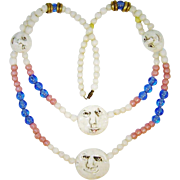Vintage Ceramic Fun Faces Necklace Art Glass Beads