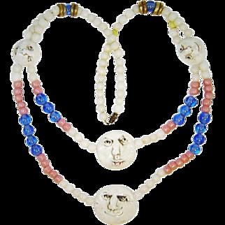 Vintage Ceramic Fun Faces Necklace Art Glass Beads
