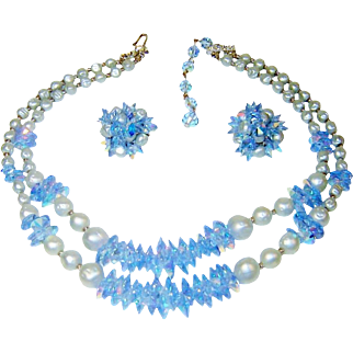 Vintage Necklace Earrings Blue Flying Saucer Crystal Glass Pearl Set