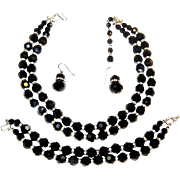 Vintage Trifari Necklace Bracelet Earrings Black Crystal Rhinestone Rondelle Set