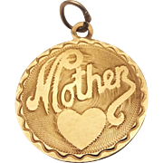 Vintage 14K Gold Mother Heart Charm Pendant