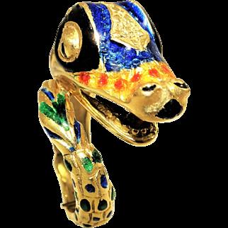 18K Hammerman Brothers Enamel Gold Snake Ring