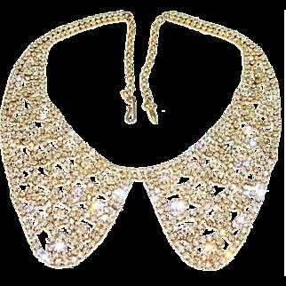 Vintage Diamante Rhinestone Necklace Peter Pan Collar