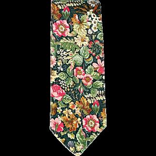 Vintage Liberty of London Style Tie Floral Cotton Print 1970s