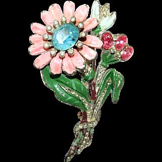 Vintage Floral Brooch Rhinestones Enamel Pot Metal
