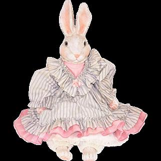 Vintage Bunny Rabbit Doll Cloth Body Bisque Head Paws
