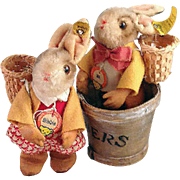 "Darling vintage pair of Steiff Bunnies, ""Bib"" and ""Bibbie""."