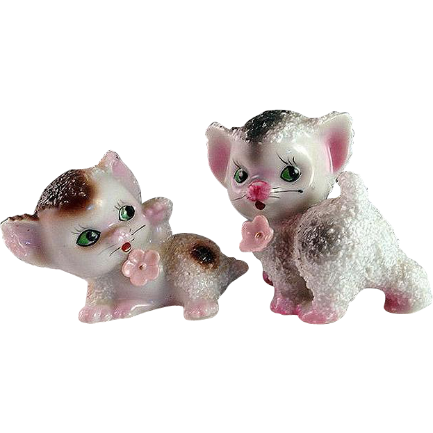 Pair of Precious 1950s Sugared Porcelain Kittens