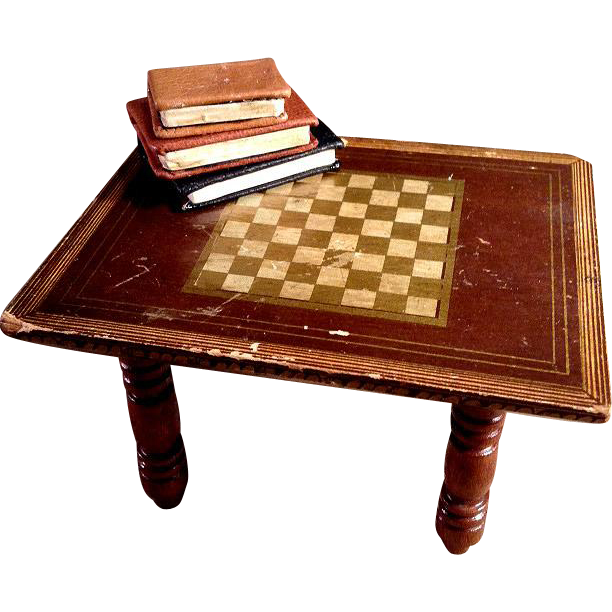 Biedermeier Large Dollhouse Scale Chess Table From