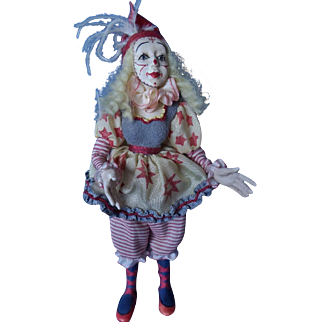 Cynthia Baron Miniature Clown Art Doll,  OOAK Miniature