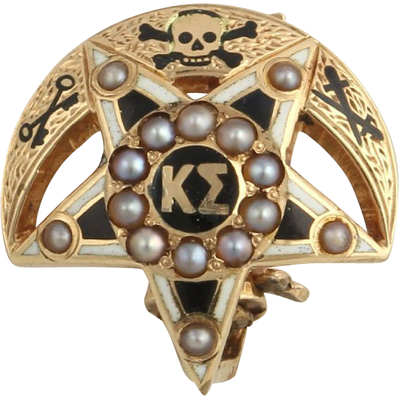 Genuine Vintage Kappa Sigma Pearl Badge Pin - 14k Solid Yellow Gold Fraternity