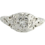 Art Deco Vintage Genuine Diamond Engagement Ring - 14k White Gold Filigree A+