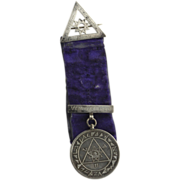 Royal Arch Masonic Antique Medal Sterling Silver Velvet Ribbon c.1850-70 Masons