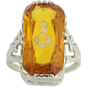Vintage Masonic Ring - Simulated Citrine 10k White Gold Blue Lodge Cocktail Ring 24k Inlay