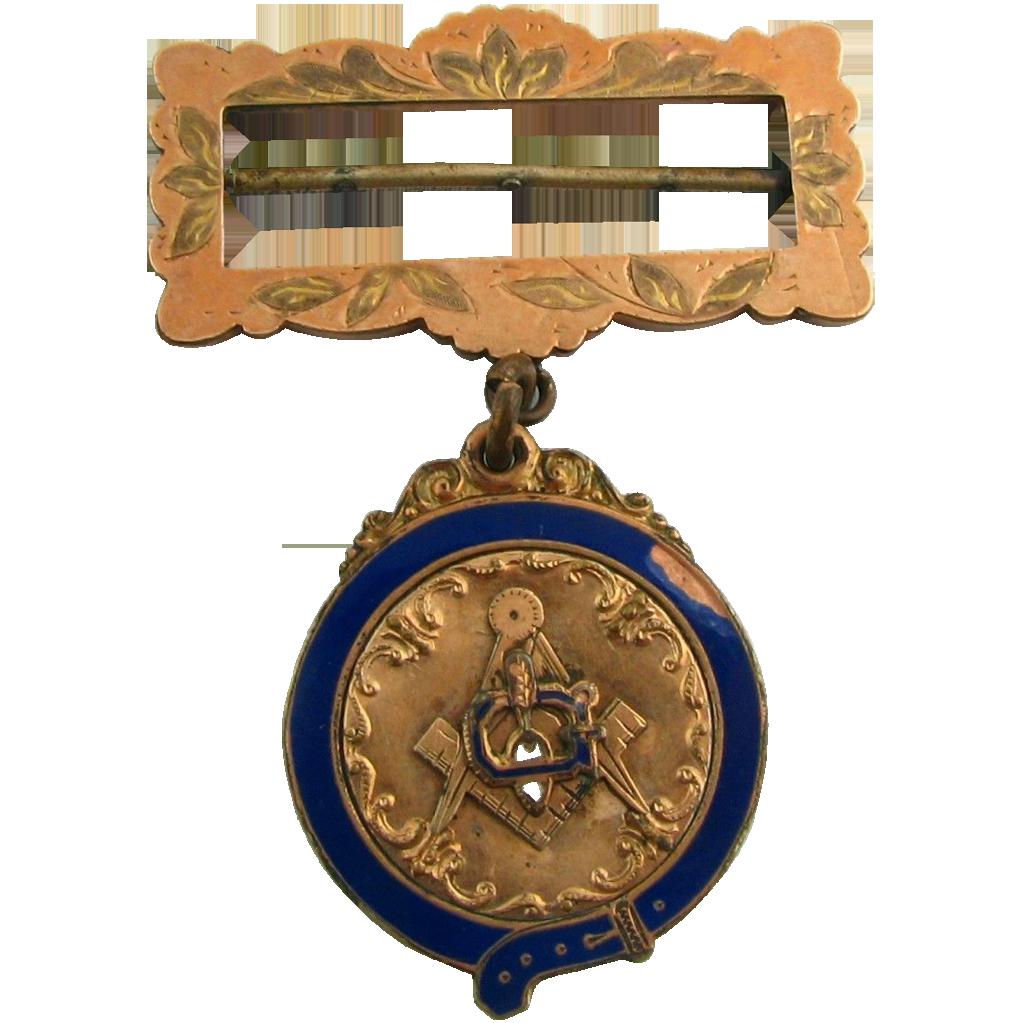 Masonic Medal - Vintage Antique Square & Compass Trowel Blue Lodge Collectible