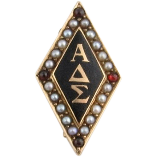 Antique Alpha Delta Sigma Fraternity Badge - 14k Yellow Gold Pearls Garnets 1890