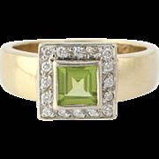 Peridot & Diamond Cocktail Ring - 9k Yellow Gold Genuine Halo Women's .68ctw