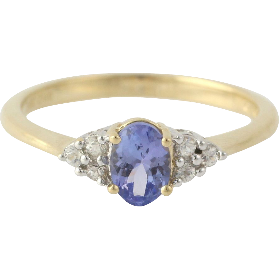 Tanzanite Ring - 14k Yellow & White Gold Oval Gemstone Estate Women's .92ct