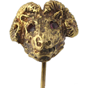 Vintage Ram's Head Stickpin - 14k Yellow Gold Genuine Rubies Estate .06ctw