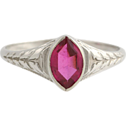 Art Deco Synthetic Ruby Solitaire Ring - 10k White Gold Women's Size 6 July Gift