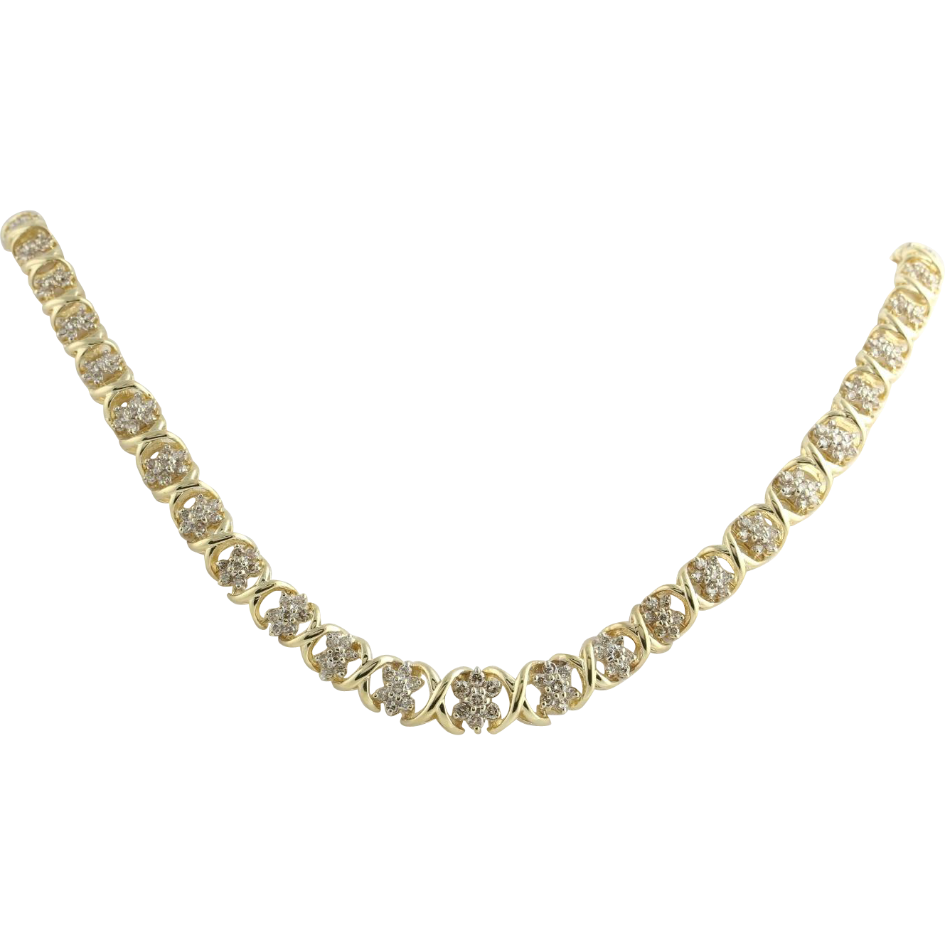 "Diamond Tennis Necklace 16"" - 14k Yellow Gold Women's Cluster Natural 3.50ctw"