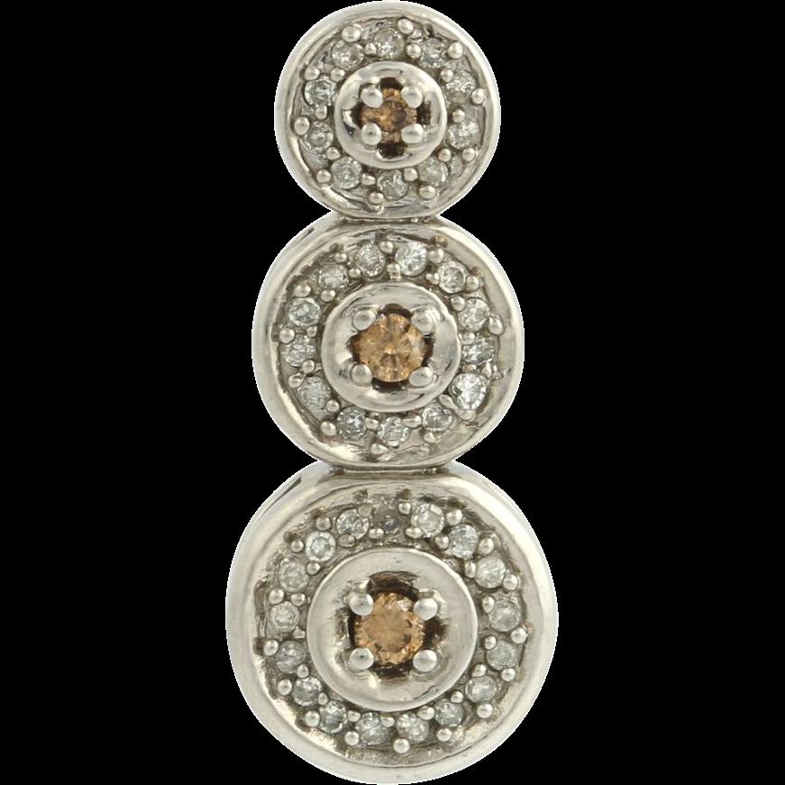 Diamond Triple Circle Pendant - 10k White Gold Journey Women's Genuine .30ctw