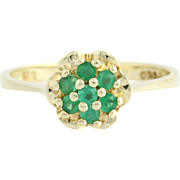 Chrysoprase Cluster Cocktail Ring - 14k Yellow Gold Floral Tier Genuine .28ctw