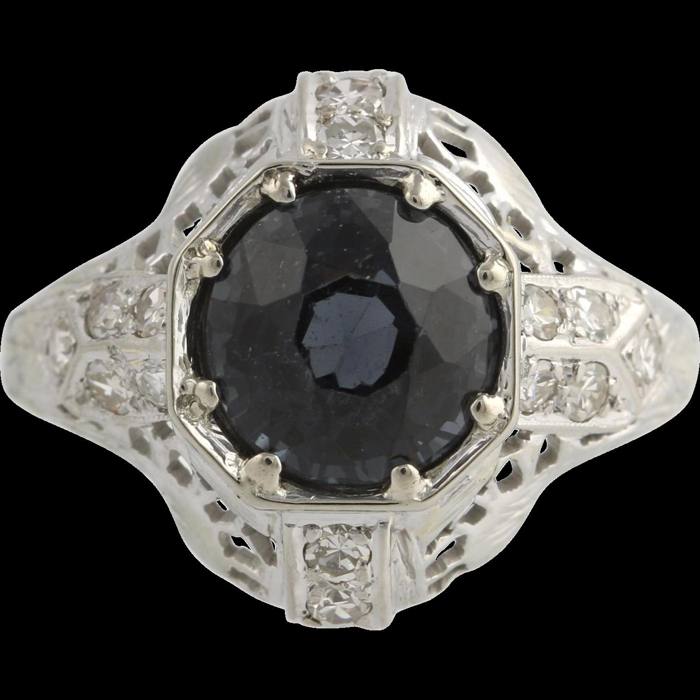 Art Deco Blue Spinel Cocktail Ring - Platinum Vintage Genuine Diamonds 2.97ctw