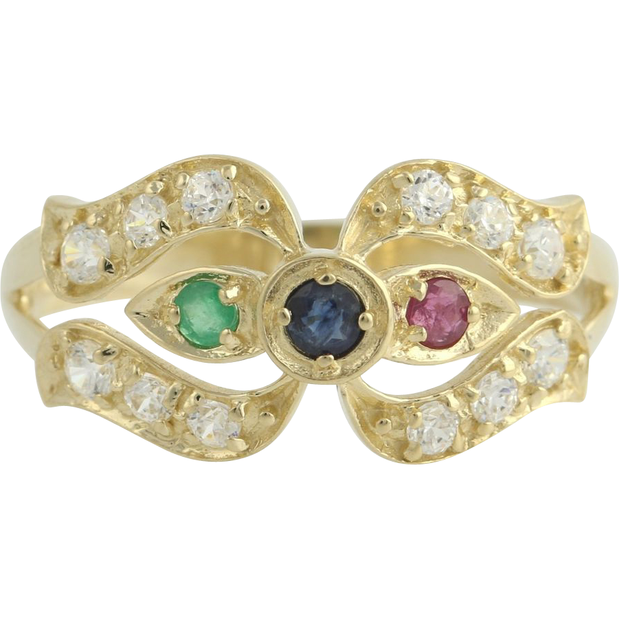 Multi-Gemstone Cocktail Ring - 14k Yellow Gold Sapphire Ruby Emerald Fashion CZ