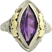 Vintage Purple Glass Cocktail Solitaire Ring - 14k White & Yellow Gold Women's